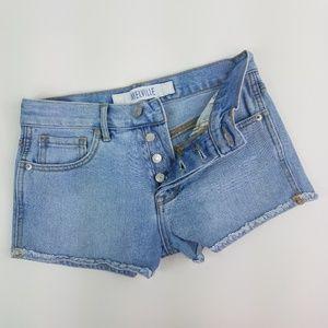 Brandy Melville Button Fly Frayed Denim Shorts